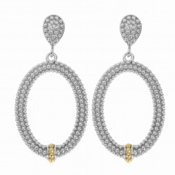 Silver And 18Kt Gold Textured Oval Popcorn Drop Earrings With Push Back Clasp