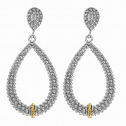 Silver And 18Kt Gold Textured Teardrop Popcorn Earrings With Push Back Clasp