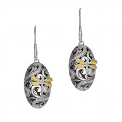 18Kt  Gold And Silver Dragonfly Oval Drop Earrings With 0.54Ct Diamonds