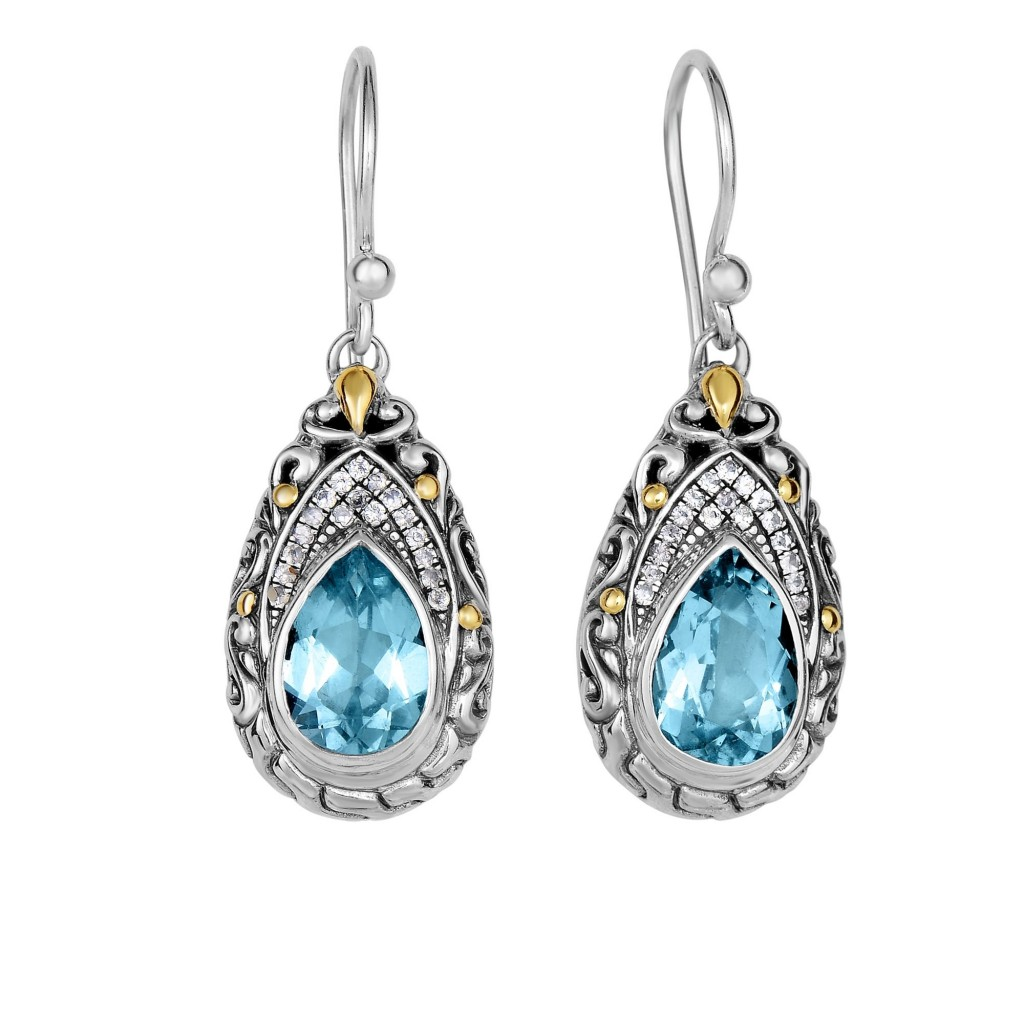 Silver And 18Kt Gold Teardrop Filigree Earrings With Blue Topaz And White Sapphires