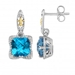 Silver And 18Kt Gold Gem Candy Drop Earrings With Blue Topaz And Diamonds