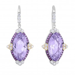 Silver And 18Kt Gold Gem Candy Marquise Drop Earrings With P Ink Amethyst, Rhodalite And White Sapphire