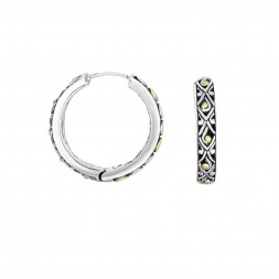 Silver And 18Kt Gold 19Mm Large Filigree Huggie Style Earrings