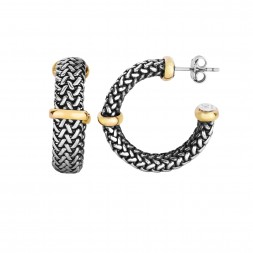 18Kt Gold And Silver Tuscan Woven Hoop Style Post Earrings