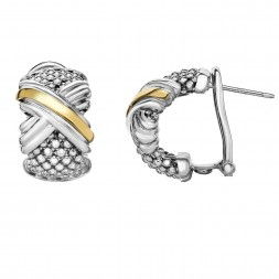 Silver And 18Kt Gold Popcorn Mesh Sculpted X Earrings