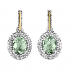Silver And 18Kt Gold Popcorn Drop Earrings With Oval Green Amethyst