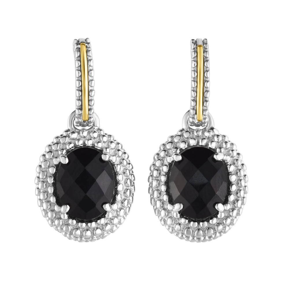 Silver And 18Kt Gold Popcorn Drop Earrings With Oval Black Onyx