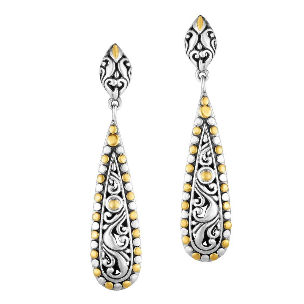 Silver And 18Kt Gold Oxidized Finish 28X9Mm Teardrop Earrings With Push Back