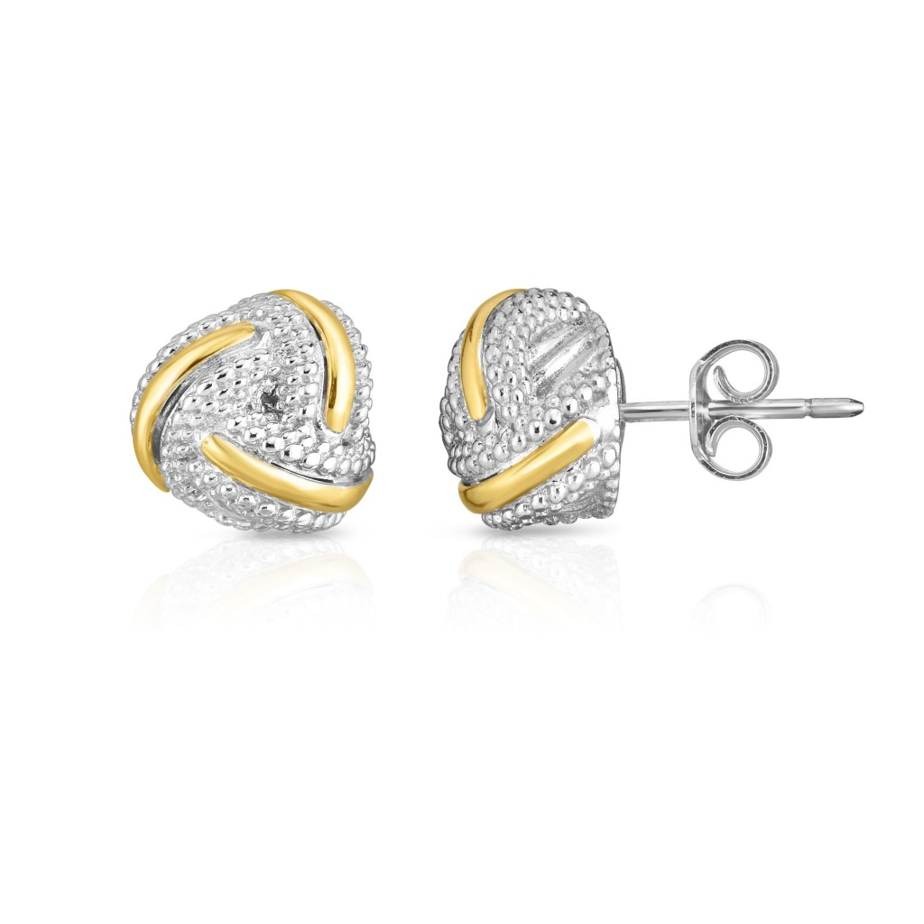 18K Gold And Sterling Silver Popcorn Love Knot Earrings