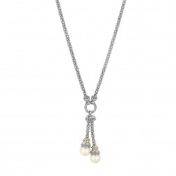 Silver And 18Kt Gold  17In  Popcorn Lariat Necklace With White Pearl