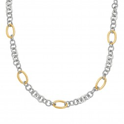 Silver And 18Kt Gold Italian Cable 18In Link Necklace