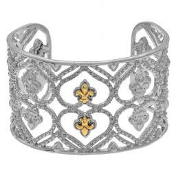 Silver And 18Kt  Gold  Fleur De Lis Pattern Cuff Bangle With .50Ct Diamond