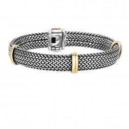 18Kt Gold & Silver 10Mm Tuscan Woven Barrel Bracelet