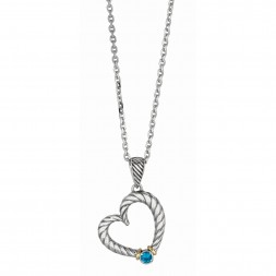 Silver And 18Kt Gold Italian Cable Heart Shaped Necklace With Blue Topaz On 18In Chain