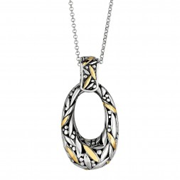 Silver And 18Kt Gold Bamboo Leave Pendant  On 18In Chain