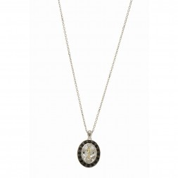 Silver And 18Kt Gold Dragonfly Teardrop Pendant On 18In Chain