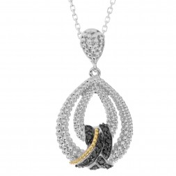 Silver And 18Kt Gold Popcorn Teardrop Pendant With Black Diamonds On 18In Chain