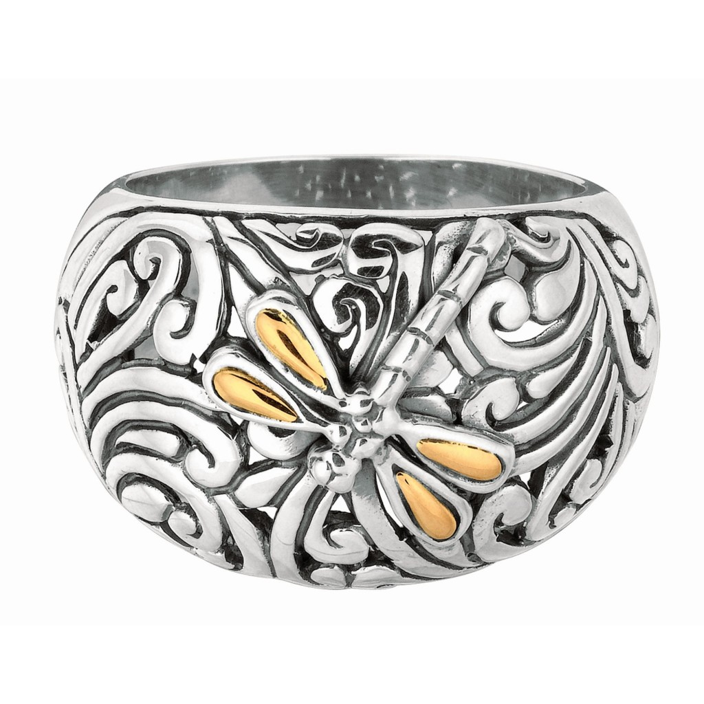 Silver And 18Kt Gold Oxidized Dragonfly  Ring