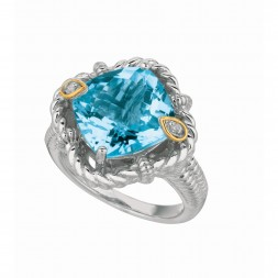 Silver And 18Kt Gold Gem Candy Cushion Blue Topaz And Diamonds Ring With Woven F Inish