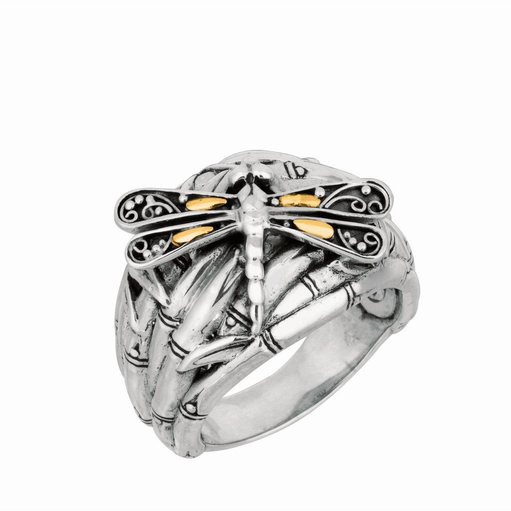 Silver And 18Kt Gold Oxidized Dragonfly Bamboo Ring