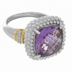 Silver And 18Kt Gold Popcorn Ring With Large Square Cushion Amethyst And Diamonds