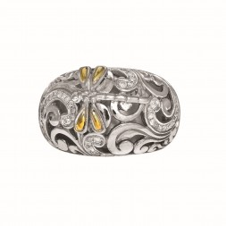 Silver And 18Kt Dragonfly Ring With 0.35Ct.Diamonds