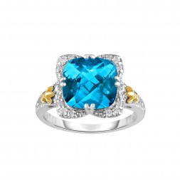 Silver And 18Kt Gold Gem Candy Square Ring With Cushion  Blue Topaz And Diamonds