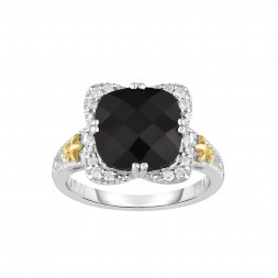 Silver And 18Kt Gold Gem Candy Square Ring With Cushion  Black Onyx And Diamonds