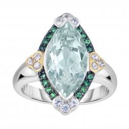 Silver And 18Kt Gold Gem Candy Marquis Ring  With Green Amethyst, Tsavorite And White Sapphire