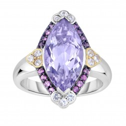 Silver And 18Kt Gold Gem Candy Marquis Ring  With P Ink Amethyst, Rhodalite And White Sapphire