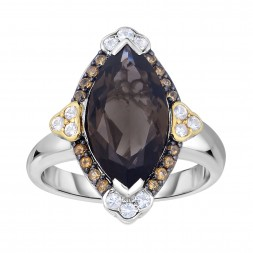 Silver And 18Kt Gold Gem Candy Marquis Ring  With Smokey Quartz,Citr Ine And White Sapphire