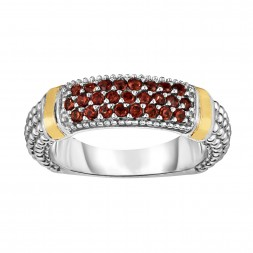 Silver And 18Kt Gold Popcorn Ring With Garnet