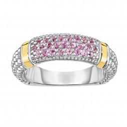 Silver And 18Kt Gold Popcorn Ring With Pink Sapphires