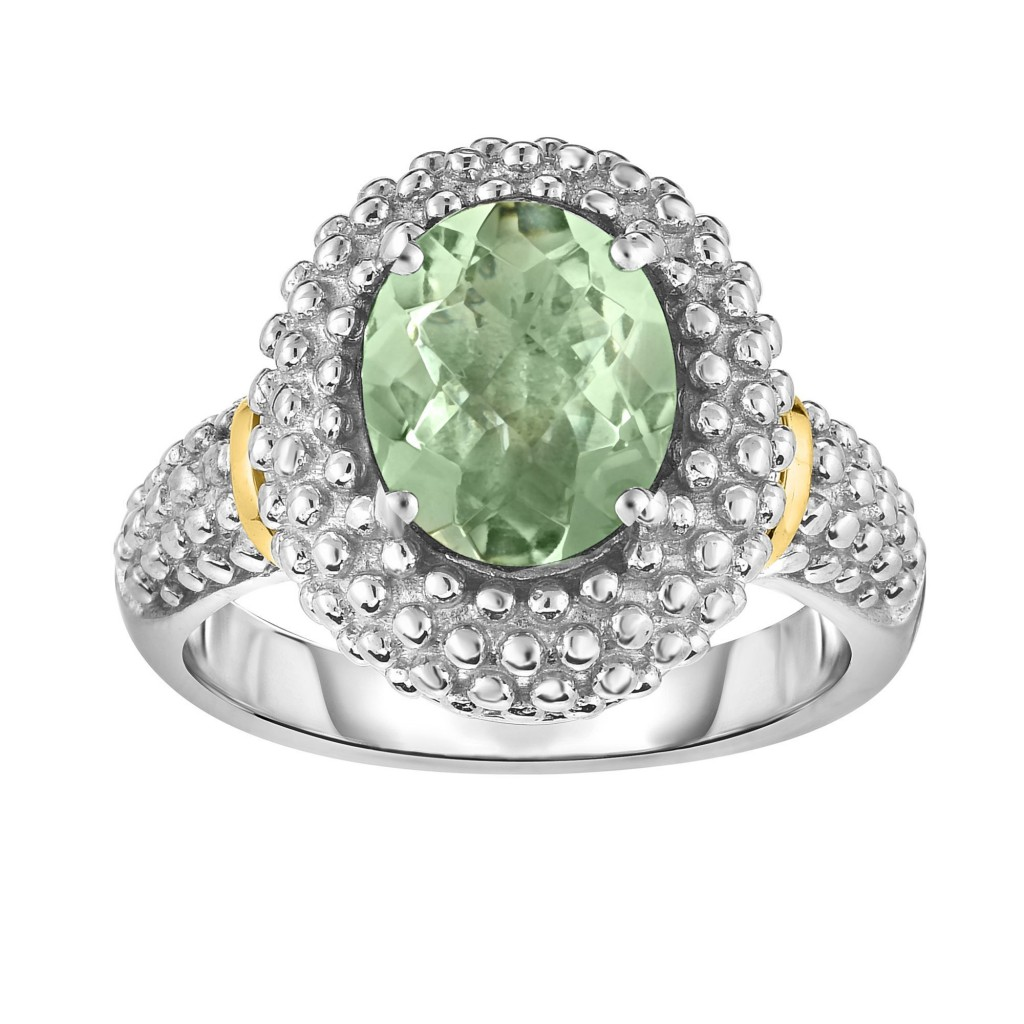 Silver And 18Kt Gold Popcorn Ring With Medium Oval Green Amethyst
