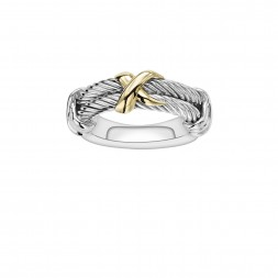 Sterling Silver And 18K Gold Italian Cable Double Row Ring With X