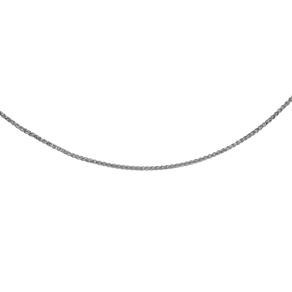 Silver 17In With Rhodium Finish Diamond Cut  Wheat Necklace With Lobster Clasp