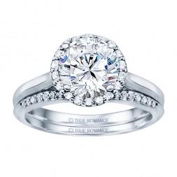 Sol102tt-14k White Gold Round Cut Halo Diamond Semi Mount Engagement Ring