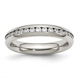 Stainless Steel Polished 4mm April Clear CZ Ring