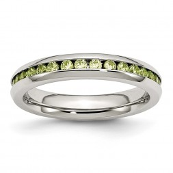 Stainless Steel Polished 4mm August Light Green CZ Ring