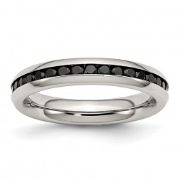 Stainless Steel Polished 4mm Black CZ Ring