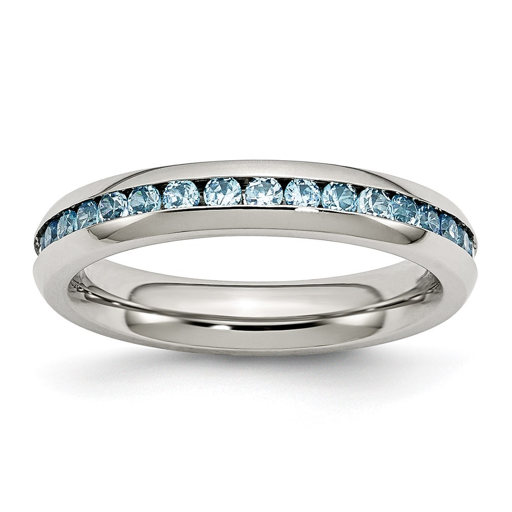 Stainless Steel Polished 4mm December Teal CZ Ring