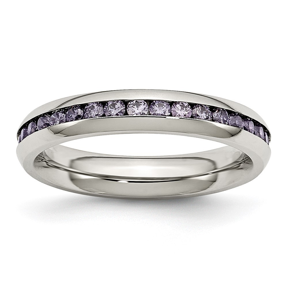 Stainless Steel Polished 4mm February Purple CZ Ring