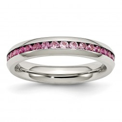 Stainless Steel Polished 4mm July Dark Pink CZ Ring