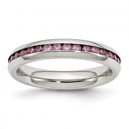 Stainless Steel Polished 4mm June Pink CZ Ring