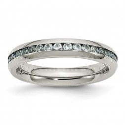 Stainless Steel Polished 4mm March Light Blue CZ Ring