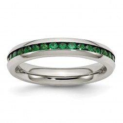 Stainless Steel Polished 4mm May Dark Green CZ Ring
