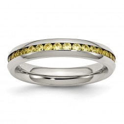 Stainless Steel Polished 4mm November Yellow CZ Ring