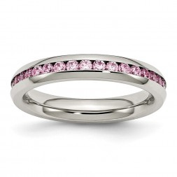 Stainless Steel Polished 4mm October Pink CZ Ring