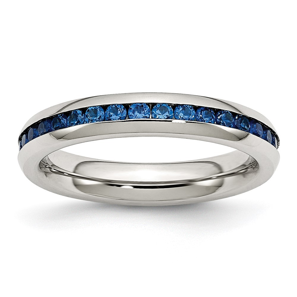 Stainless Steel Polished 4mm September Blue CZ Ring
