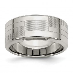 Stainless Steel Polished and Textured 10mm Band